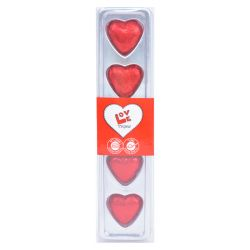 לבבות שוקולד 5 יח 32.5 גר' במארז PVC שקוף מגש