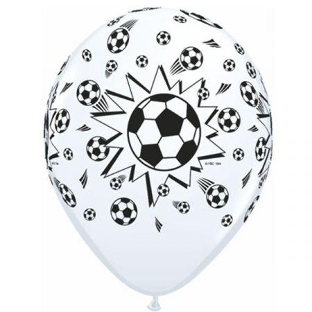 בלון Q11 מודפס כדורגל לבן - 50 יח