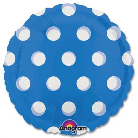 בלון מיילר 18- חלק כחול עם נקודות לבנות