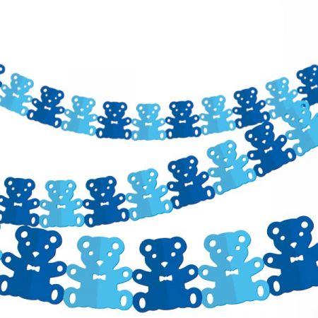 שרשרת נייר כחולה - דובי