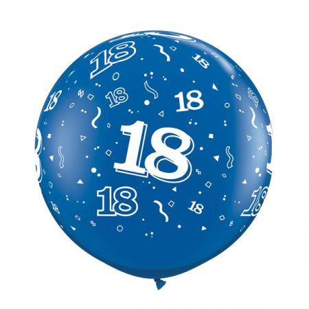 בלון Q3feet כחול מודפס גיל 18 2 יח (מחיר ליח)