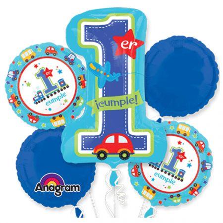זר בלונים-יום הולדת שנה לבן מכוניות (ספרדית)