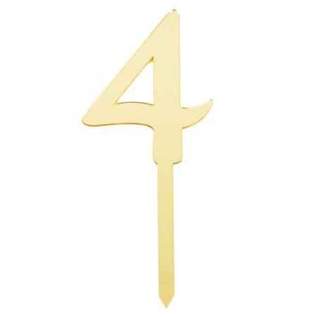 טופר אקרילי לעוגה קטן- 1 יח- מס 4 זהב