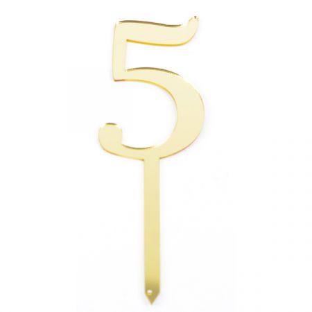 טופר אקרילי לעוגה קטן- 1 יח- מס 5 זהב