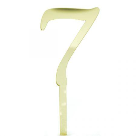 טופר אקרילי לעוגה קטן- 1 יח- מס 7 זהב