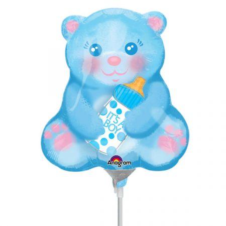 בלון על מקל 9- דובי תכלת עם בקבוק תינוק