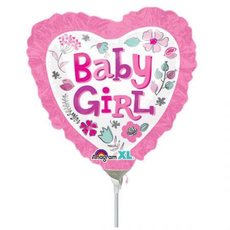 בלון על מקל 9- לב תינוקת מעוטר פרחים
