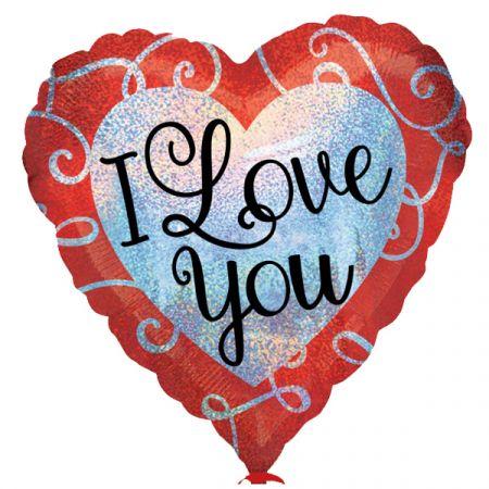 בלון מיילר 18- I LOVE YOU לב אדום לב מנצנץ