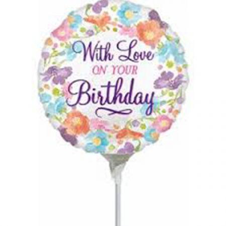 בלון על מקל 9- with love on your birthday פרחוני