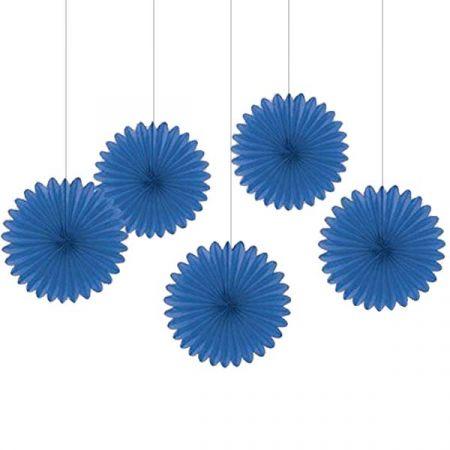 קישוטי נייר לתלייה 5 יח - כחול
