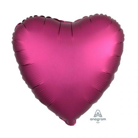 בלון מיילר 18- חלק לב אדום רימון כרום אנגרם