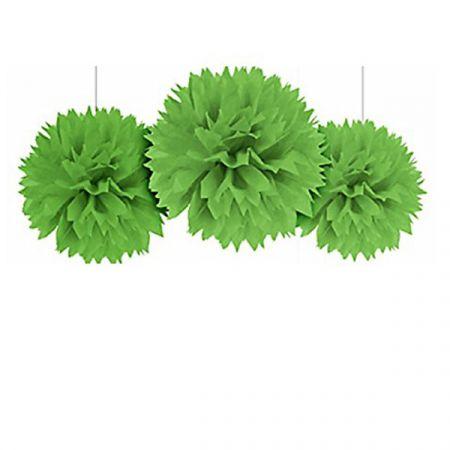 קישוט פונפון מנייר לתלייה 3 יח - ירוק