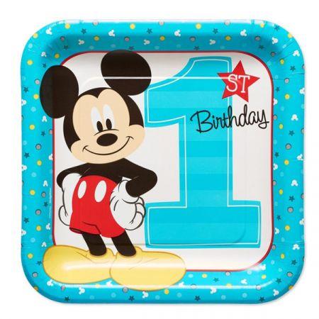 צלחות נייר 23 סמ מרובעות - מיקי יום הולדת שנה