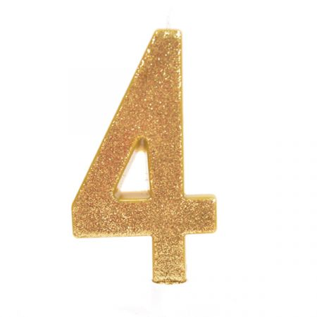 נר גדול ספרה 4 מנצנץ זהב מעמד לבן(144*24*1)