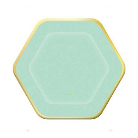 צלחות נייר 20 8 יח - משושה מנטה הטבעת זהב