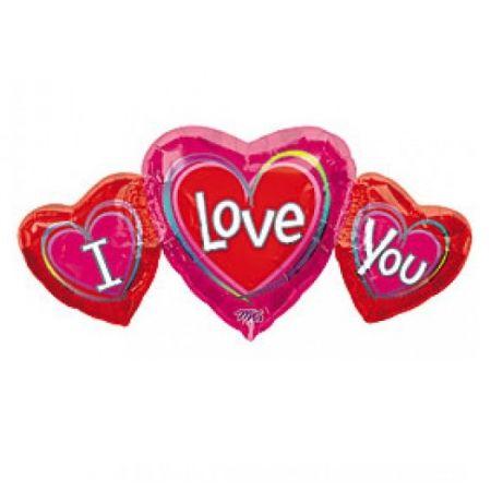 בלון מיילר 36- 3 לבבות I LOVE YOU