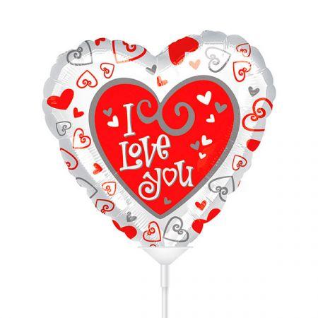 בלון על מקל 4-ILOVEU לבבות אדום לבן