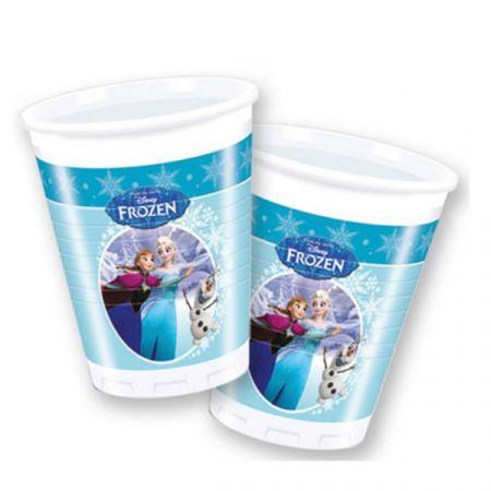 כוסות פלסטיק 200 מל 8 יחידות- פרוזן עיטור כוכבים תכלת