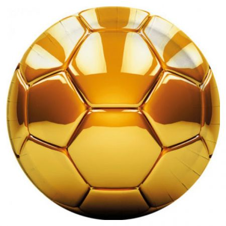 צלחות נייר 23 סמ עגולות 8 יח- דגם כדורגל זהב מטאלי