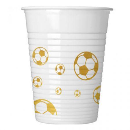 כוסות פלסטיק 200 מל 8 יח- דגם כדורגל זהב מטאלי