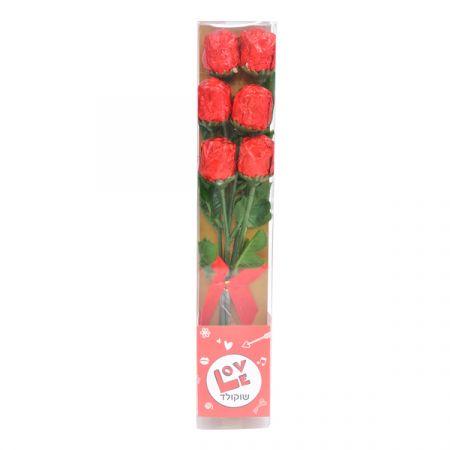 זר 6 ורדים שוקולד באריזה מהודרת 42 גר'