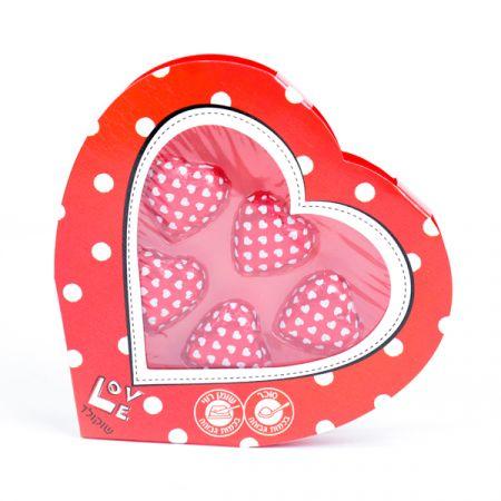 לבבות שוקולד 5 יח באריזת לב מהודרת 30 גר' מגש
