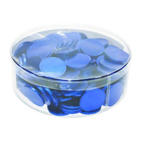 מטבעות שוקולד 38 ממ 936 גר' בצילינדר כחול קינג