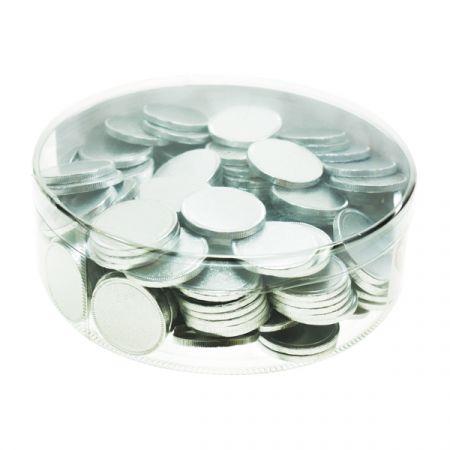 מטבעות שוקולד 38 ממ 936 גר' בצילינדר כסף