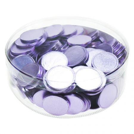 מטבעות שוקולד 38 ממ 936 גר' בצילינדר לבנדר