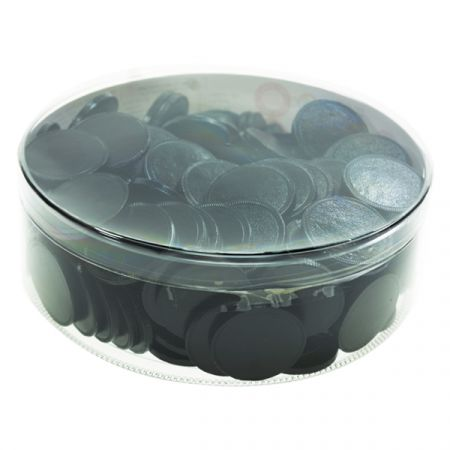 מטבעות שוקולד 38 ממ 936 גר' בצילינדר שחור