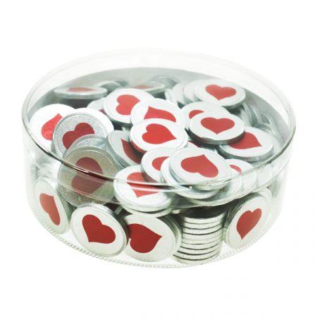 מטבעות שוקולד 38 ממ 936 גר' בצילינדר לב אדום