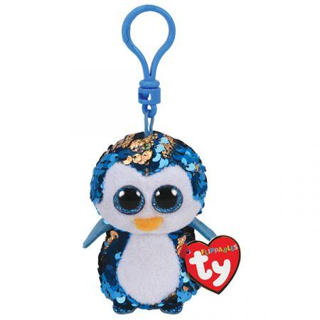 בובת TY מחזיק מפתחות עיניים גדולות פאייטים - פייטון פינגווין כחול