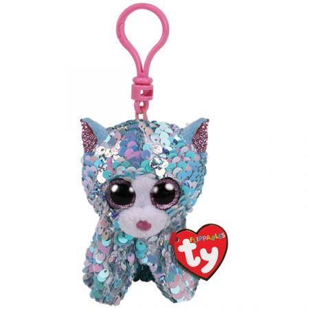 בובת TY מחזיק מפתחות- עיניים גדולות פאייטים- ווימסקי החתול הכחול