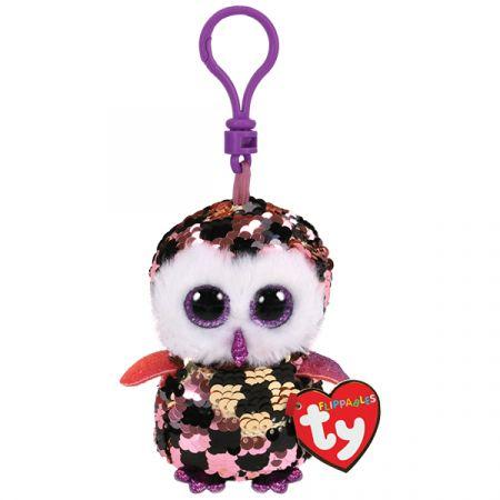 בובת TY מחזיק מפתחות- עיניים גדולות פאייטים- צאקס ינשוף ורוד זהב
