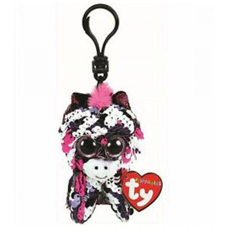 בובת TY מחזיק מפתחות- עיניים גדולות פאייטים- זואי זברה ורודה