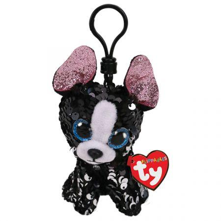 בובת TY מחזיק מפתחות- עיניים גדולות פאייטים- פורטייה כלב טרייר