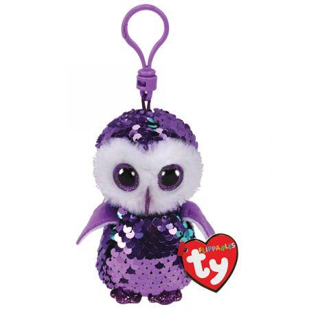בובת TY מחזיק מפתחות- עיניים גדולות פאייטים- מונלייט הינשוף הסגול