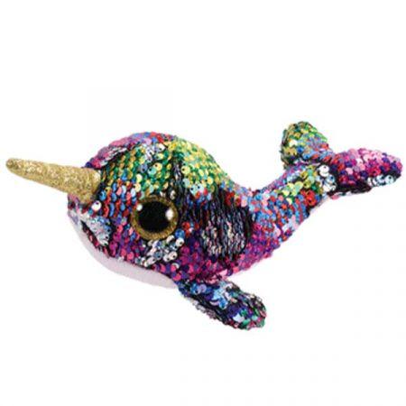 בובת TY- עיניים גדולות פאייטים (S)- קליפסו לוויתן חד קרן צבעוני