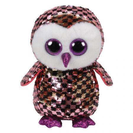 בובת TY- עיניים גדולות פאייטים (M)- צאקס ינשוף ורודשחור