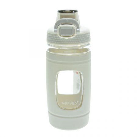 בקבוק שתיה 500 מל עם כיסוי סיליקון וידית אחיזה- לבן