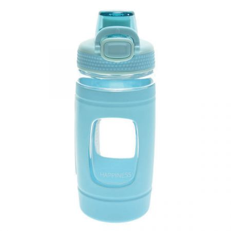 בקבוק שתיה 500 מל עם כיסוי סיליקון וידית אחיזה- תכלת