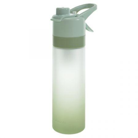 בקבוק שתיה והתזת מים 650 מל ציפוי גומי- ירוק אומברה