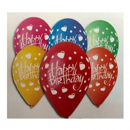 בלון G12- מודפס HBD לבבות מעורב צבעים 100 יח