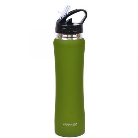בקבוק נירוסטה דופן כפולה שומר קורציפוי גומי 500 מל- ירוק זית