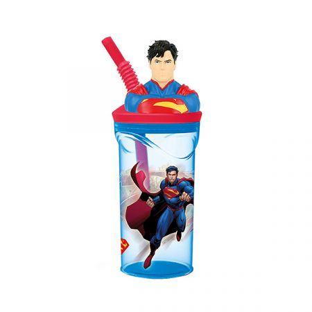 כוס דמות 3D עם קש סופרמן