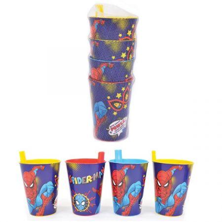 כוס עם קש 4 יחידות - ספיידרמן