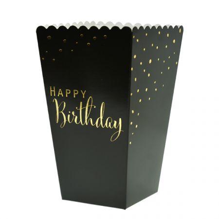 קופסאות פופקורן וחטיפים 4 יח - HB שחור זהב