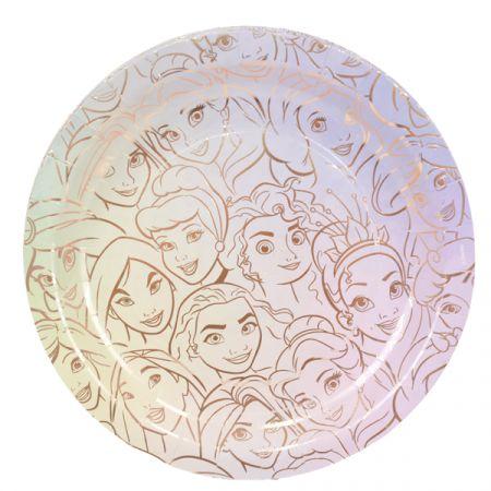 צלחות נייר 23 סמ 8 יח- נסיכות UPC הטבעת זהב