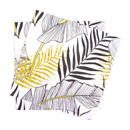מפיות נייר 2 שכ 33X33 סמ 20 יח- עלים טרופי שחור לבן זהב