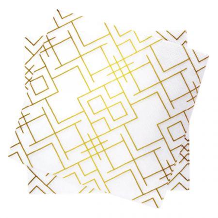 מפיות נייר 2 שכ 33X33 סמ 20 יח- גיאומטרי לבן זהב